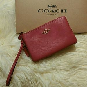 Coach Mauve Pink Leather Wristlet Wallet